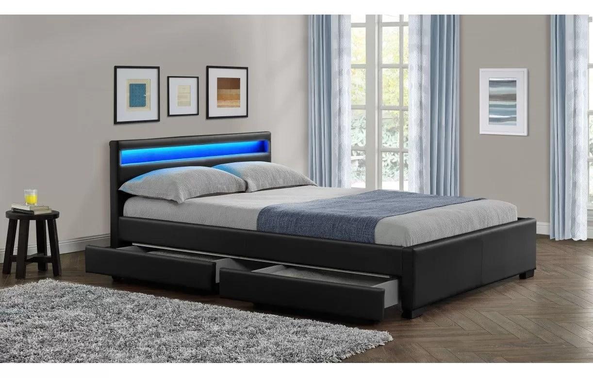 lit double design noir italien 160 cm avec bande led et 4 tiroirs light