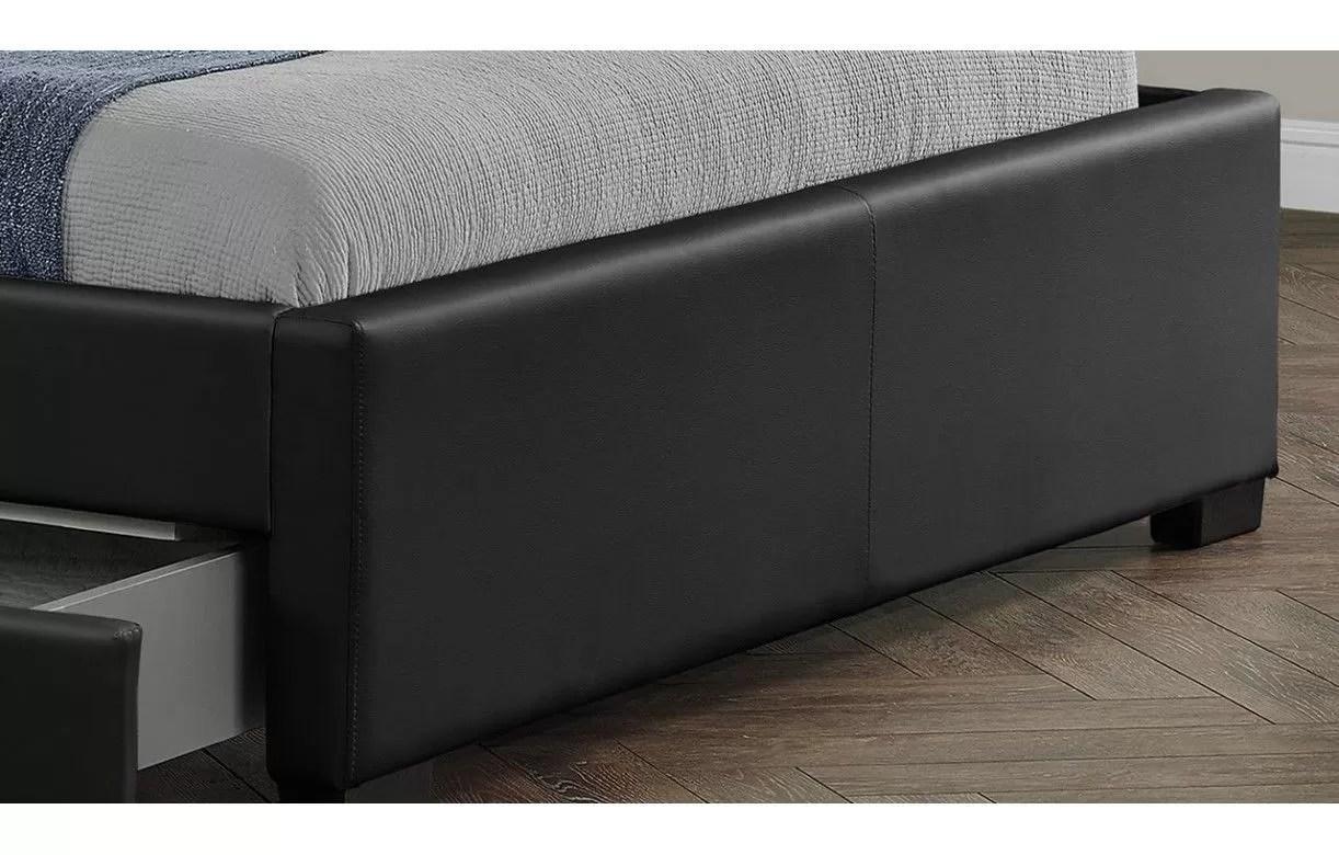 Lit Double Design Noir Italien 160 Cm Avec Bande Led Et 4 Tiroirs LIGHT Decome Store