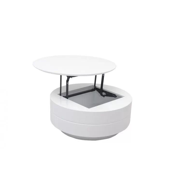 table basse grise ou blanche avec plateau relevable et coffre fatosy