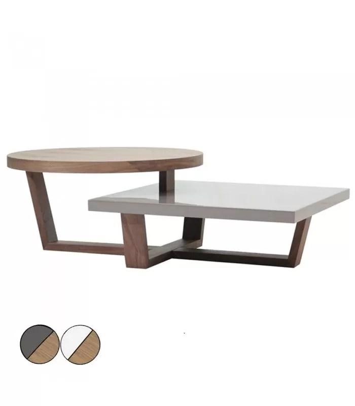 table basse en bois de noyer blanc ou gris laque a deux plateaux firmy