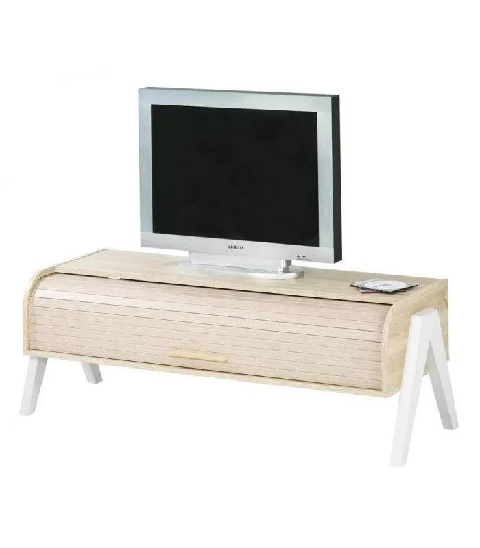meuble tv bois clair avec rangement a rideau deroulant vintagy