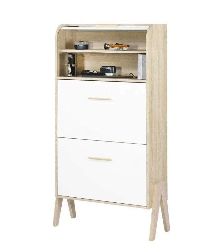 meuble a chaussures bois et blanc style scandinave avec rideau vintagy
