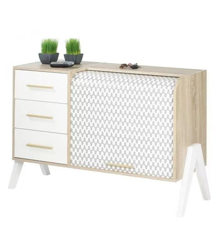 meuble de rangement blanc 3 tiroirs et 1 rideau deroulant vintagy