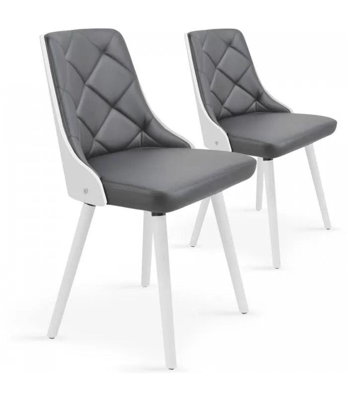 lot de 2 chaises scandinaves bicolores lalix