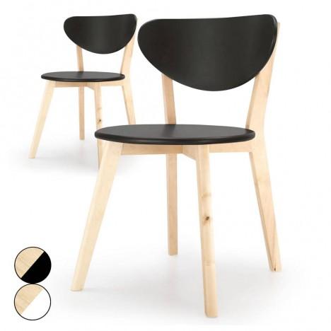 chaise en bois noire ou blanche style scandinave canady wood