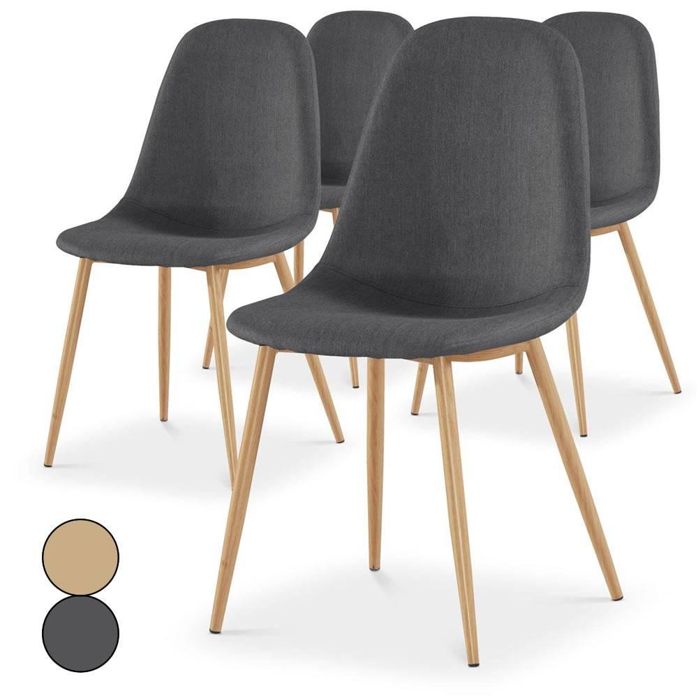 lot de 4 chaises scandinaves beige ou