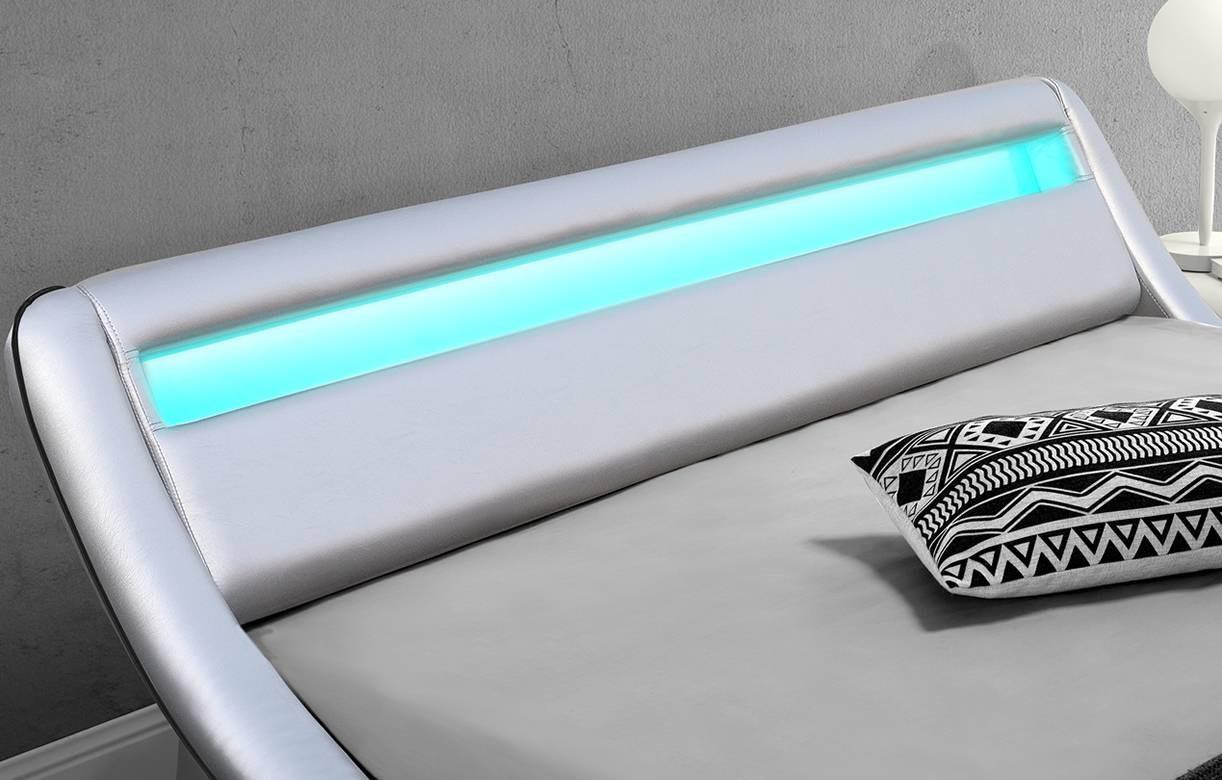 Lit 180x200 Argent Silver Simili Cuir Sommier LED Light