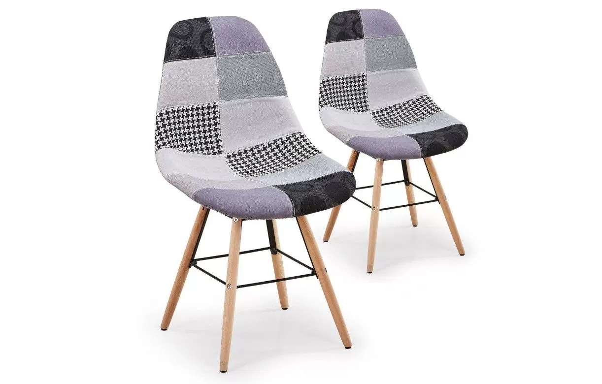 Chaise Grise Scandinave Design Patchwork Lot De 2