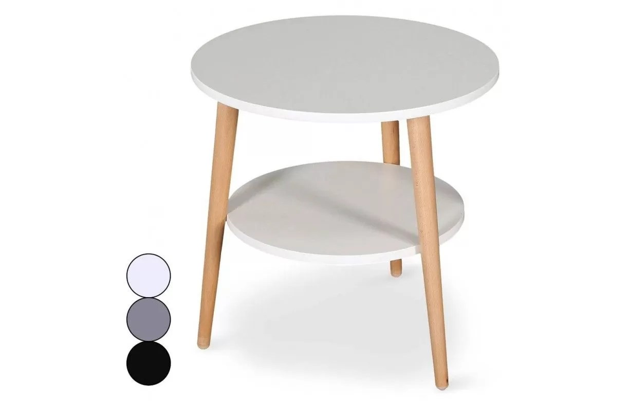 table basse scandinave ronde double plateau