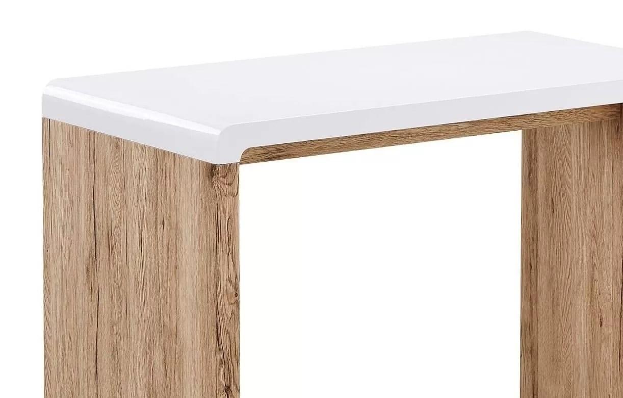 bureau console bois clair et blanc