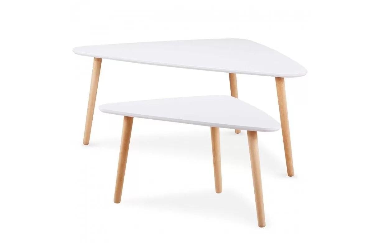 lot de 2 tables basses gigognes triangulaires blanc et bois