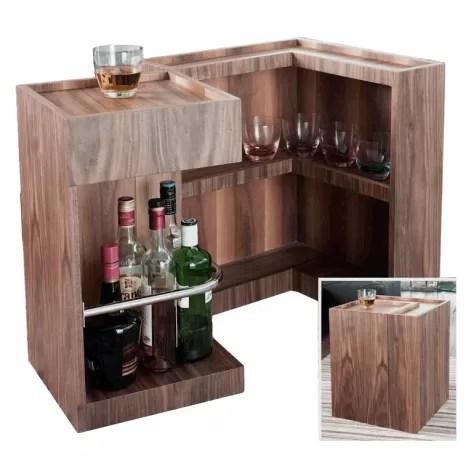 mini bar range bouteilles en bois noyer walnut