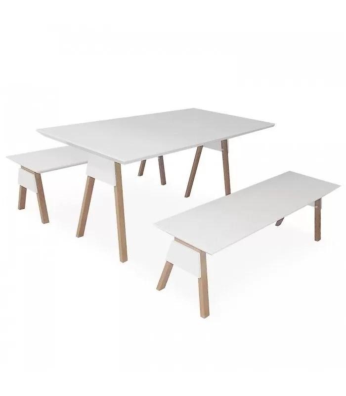 ensemble table et bancs blanc et bois chene clair ema