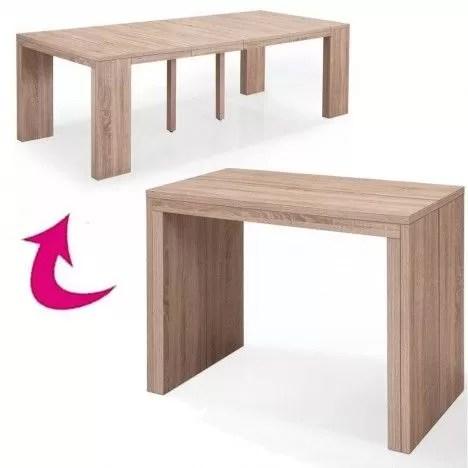table console extensible a rallonges en bois chene clair sabine