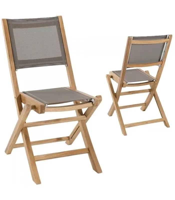 lot de 2 chaises pliantes en teck et textilene taupe jakarta