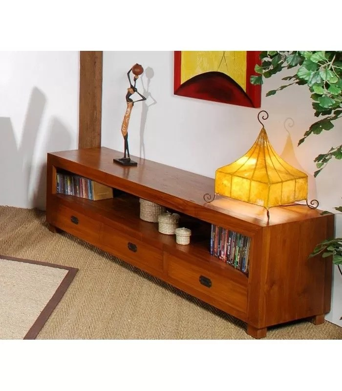 meuble tv en bois massif avec 3 tiroirs style vintage joca