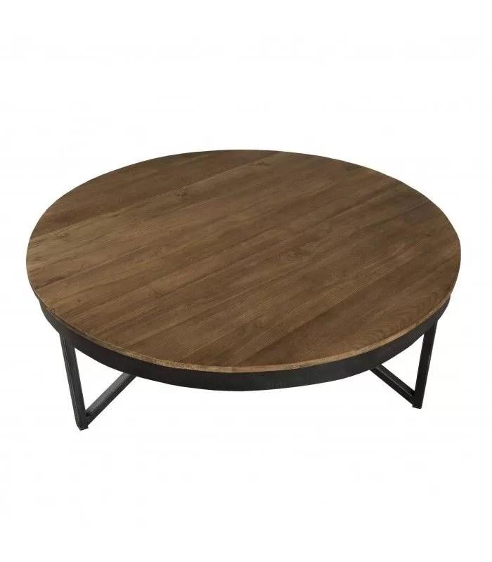 table basse ronde bois massif metal noir 90 cm sula
