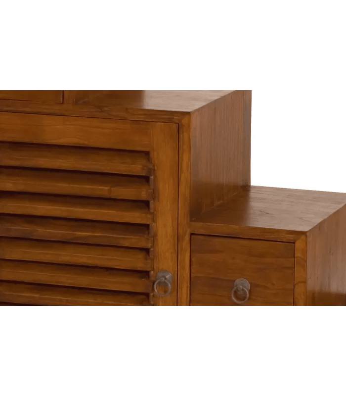 meuble rangement escalier tiroirs bois massif rustique