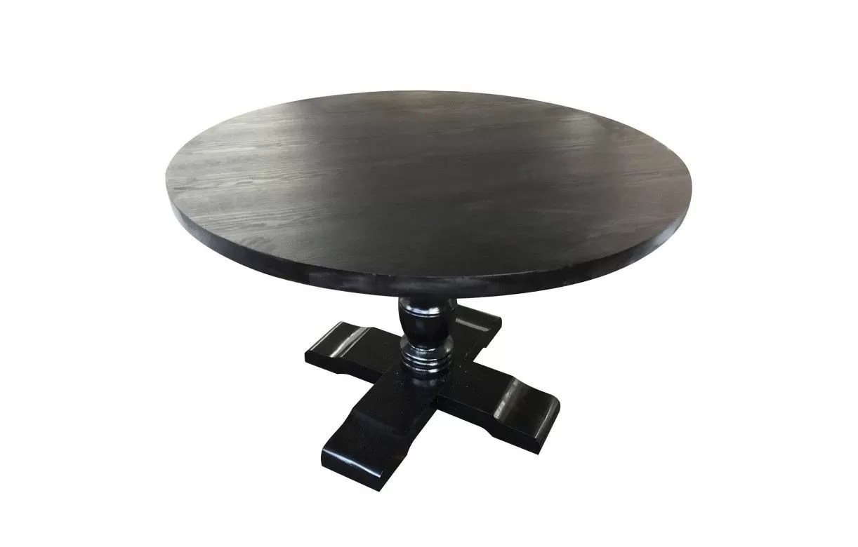 table ronde noire en bois et pied blanc alabama