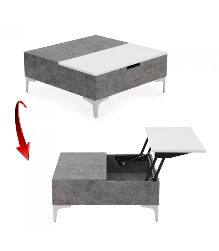 table basse relevable gris beton et blanc skara