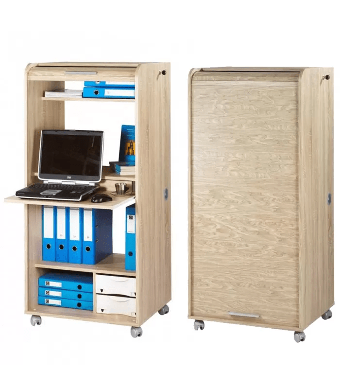 armoire informatique mobile a rideau largeur 65cm orga