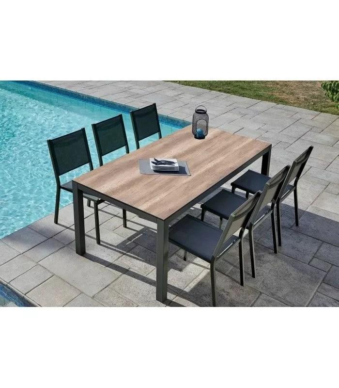 table de jardin 6 chaises empilables chene clair lena
