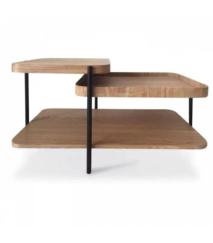 table basse design moderne en bois et metal