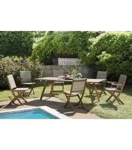 ensemble d exterieur avec table en acacia et chaises en rotin nang