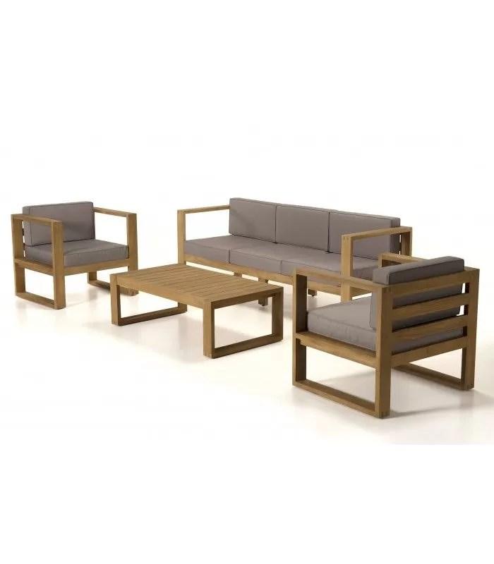 salon de jardin moderne 5 places en bois massif palu