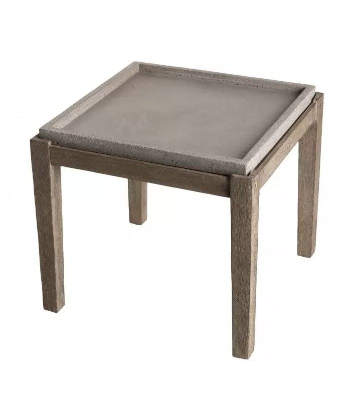 petite table d appoint carree en beton et bois massif 50x50cm prestige