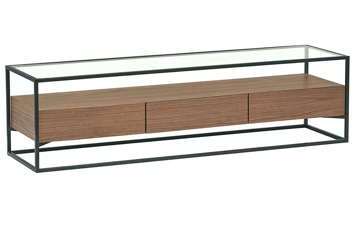 meuble tv 3 tiroirs bois noyer en verre