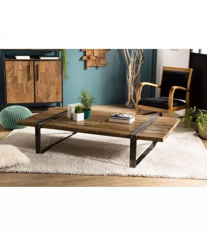 table basse bois massif cerclee metal style indus savane