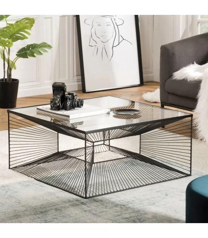table basse carree metal noir plateau verre cali