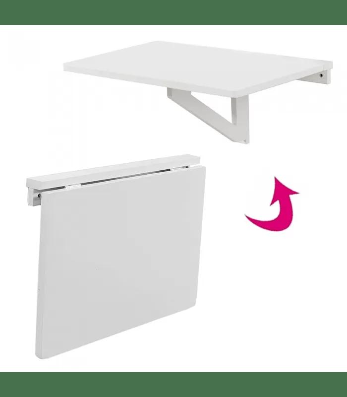 table murale pliable bureau rabattable 60x40cm blanc worky