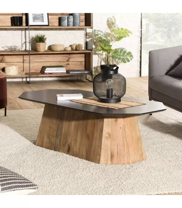 table basse octogonale bois pin recycle et contreplaque pacora