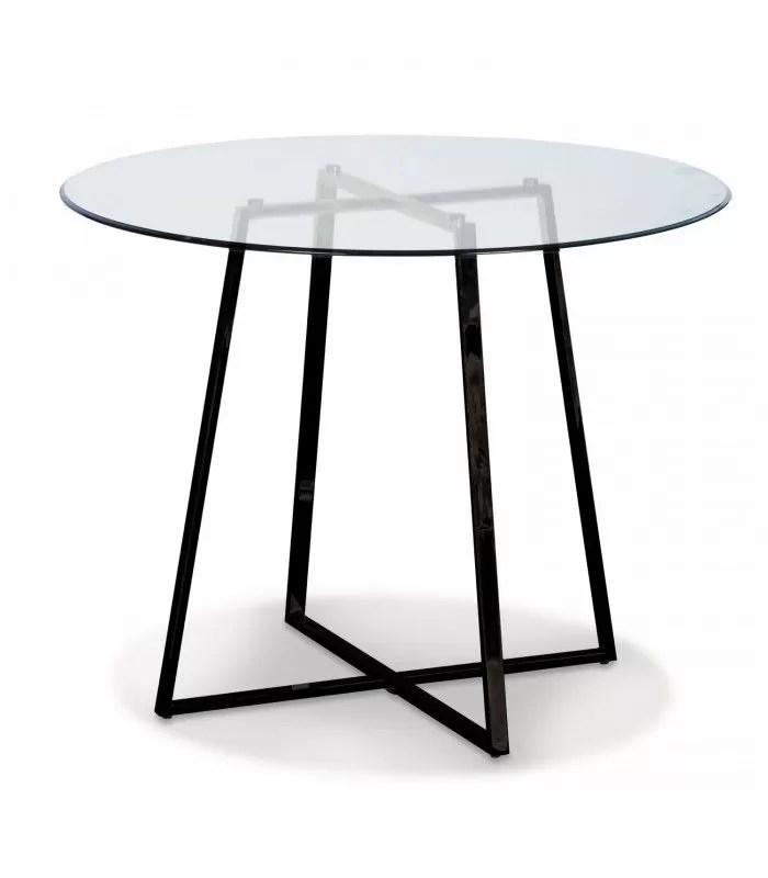 table ronde en verre avec pieds en metal noir francky