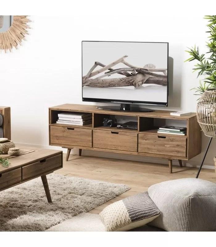 meuble tv bois massif sapin 3 tiroirs 3 niches anak