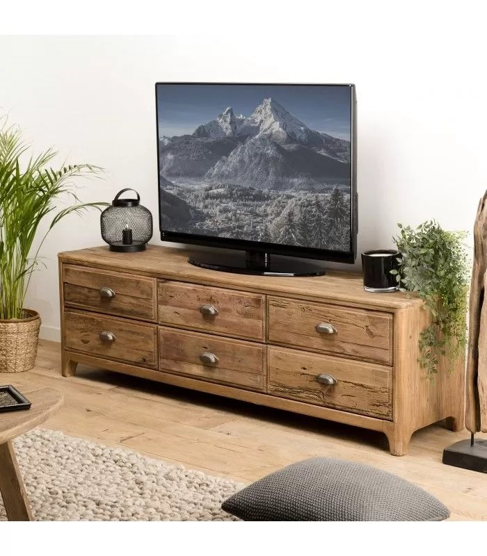 meuble tv 6 tiroirs bois massif de pin recycle bastila