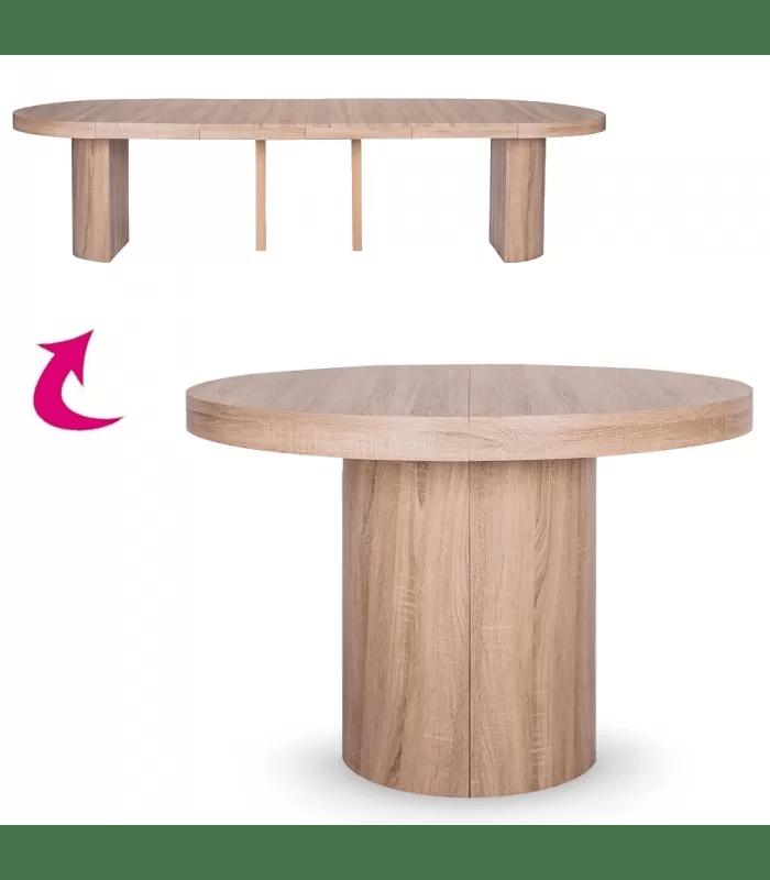 table ronde extensible effet chene clair 310cm suzy xl