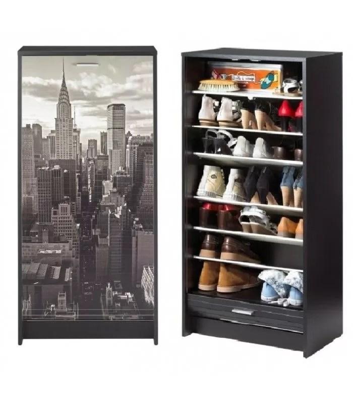 armoire a chaussures noir ou blanc a rideau deroulant 20 paires new york