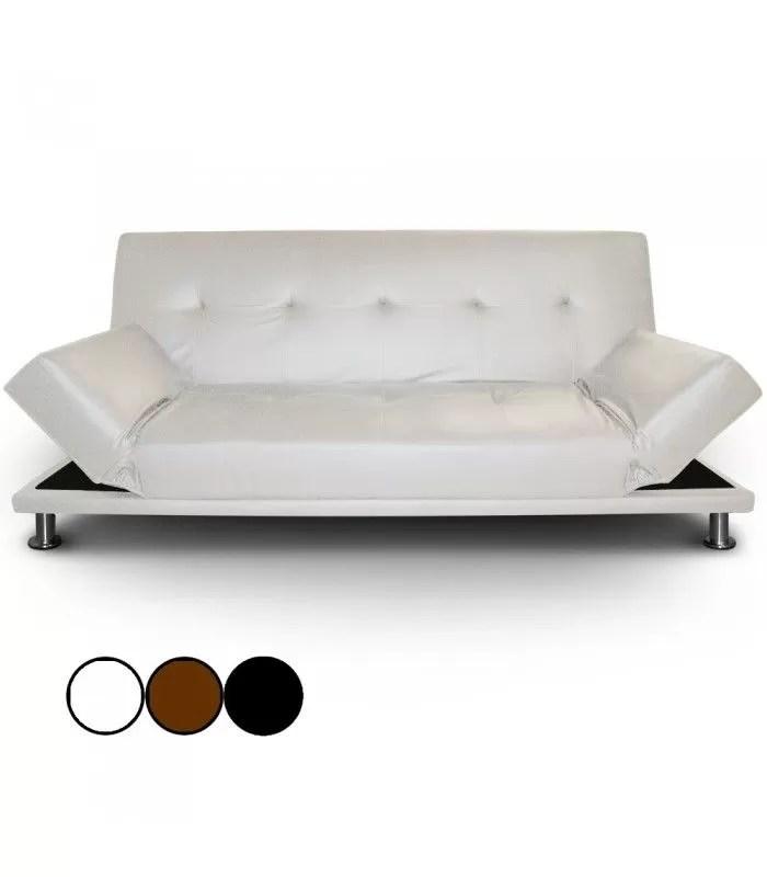 Canape Lit En Simili Cuir Noir Avec Pieds Inox Liberty Decome Store