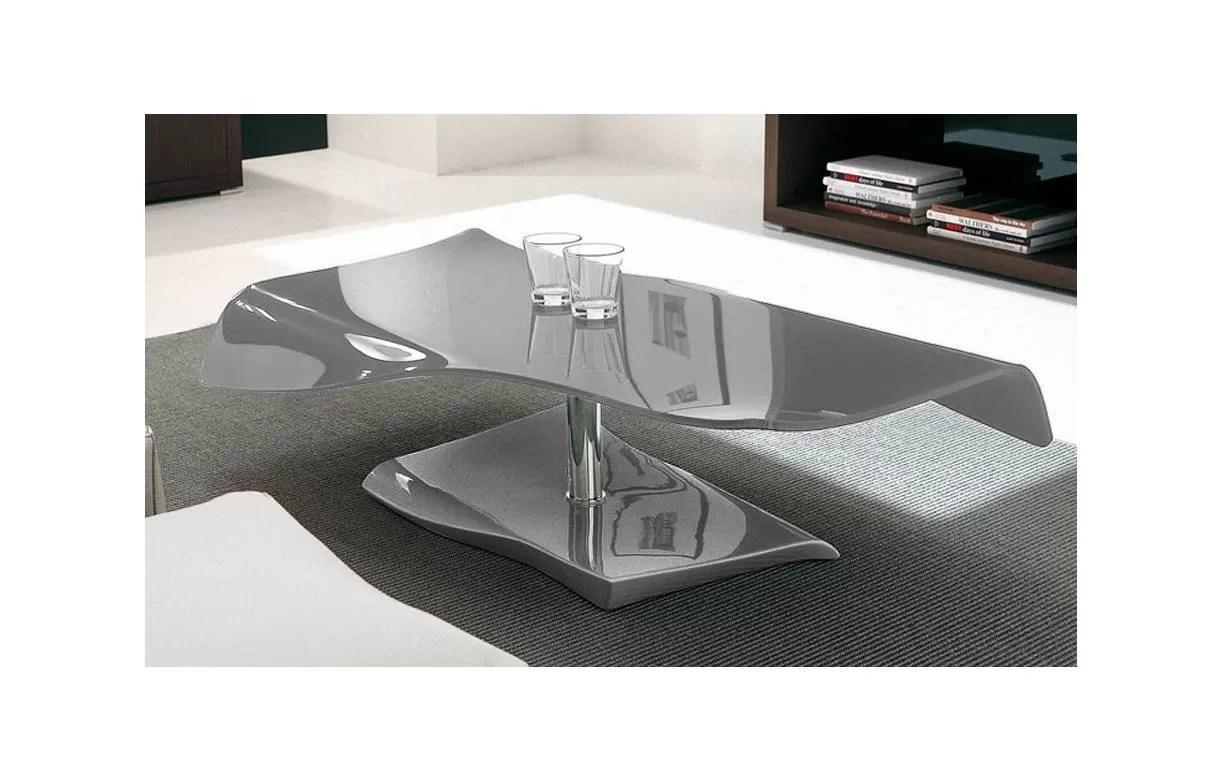 table basse fixe en verre laque gris squizy