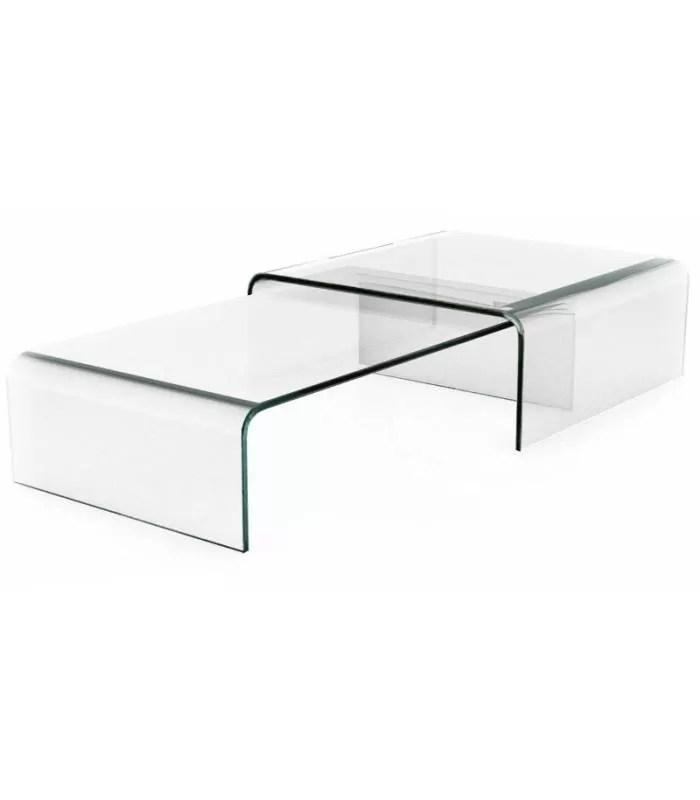 table basse en verre double bady