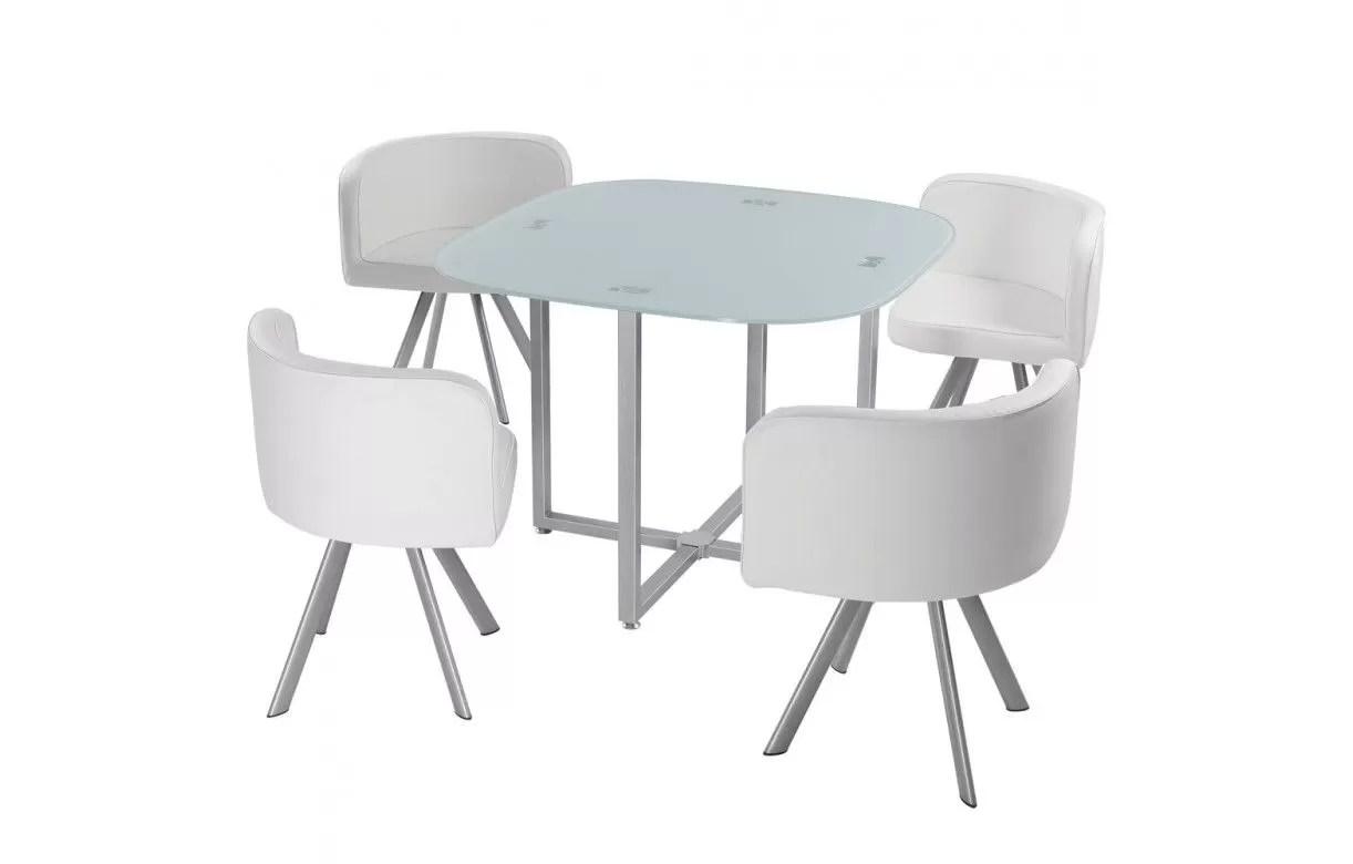 table et 4 chaises encastrables avec