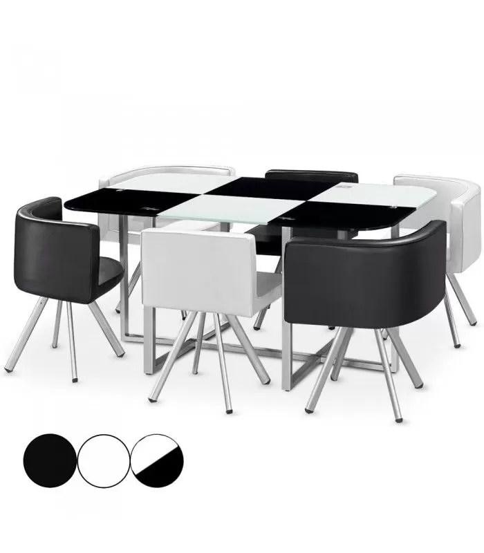 ensemble table 6 chaises encastrables plateau en verre 4 coloris