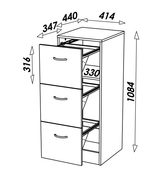 Rangement De Bureau Dossiers Suspendus 3 Tiroirs