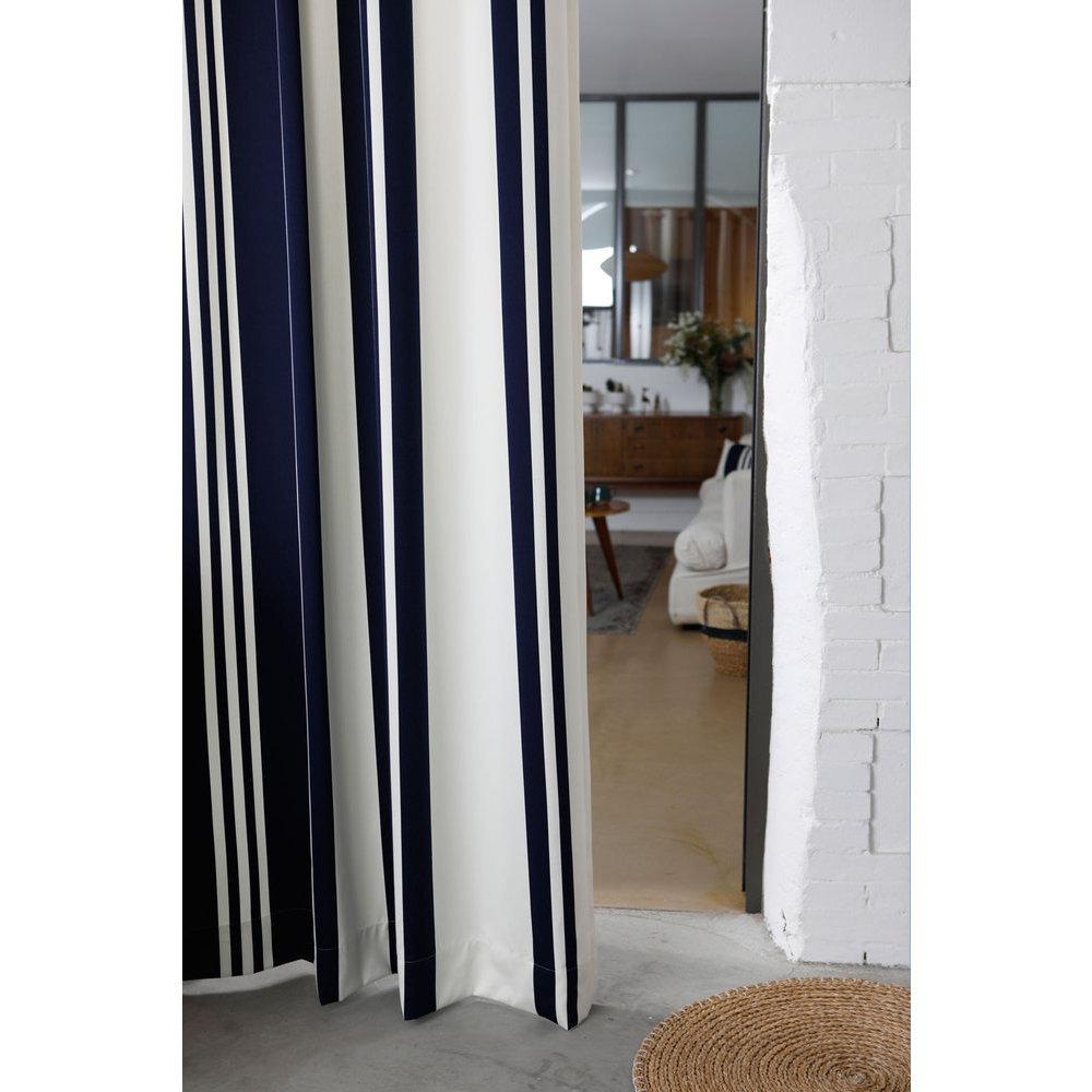 rideau rayures bleu et blanc