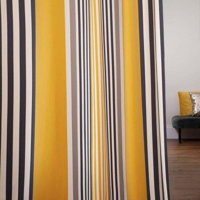 rideaux basque rayures jaune et noir