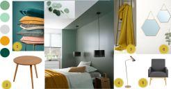 planche d'ambiance chambre couleur vert de gris et jaune moutarde
