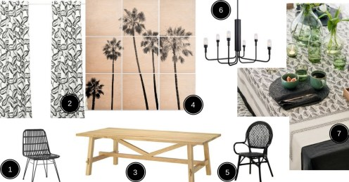 planche d'inspiration thème tropical bois et noir